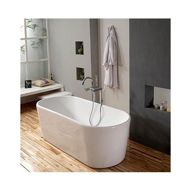 Badekar - Oval Slim 160 - fritstående badekar med tynd side
